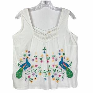 Soft Surroundings Embroidered Peacock Tank Top XS